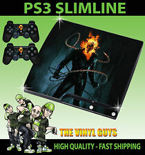 PLAYSTATION PS3 SLIM STICKER GHOST RIDER JOHNNY BLAZE SKULL SKIN & 2 PAD SKIN