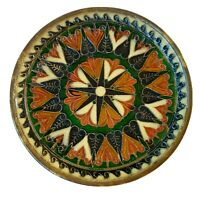 """Enamel on Bronze & Copper 6"""" Plate Hand Made in Greece G. Halkides White Green"""