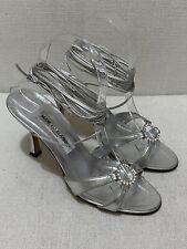 MANOLO BLAHNIK Silver Metallic Strappy Sandals with Crystal Buckle Sz 36.5