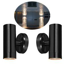 2 x Security Porch Outside Dual Wall Door Patio House Garden Twin Light - BLACK