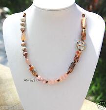 Picture Jasper, Morganite gemstone, Lampwork adjustable silky cord Necklace New