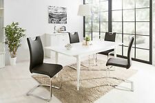 Esstisch Landwood 57, Auszugstisch, Auszugtisch, Küchentisch, Weiß, 160-200 x 90