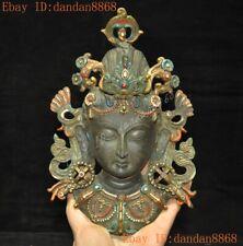 Rare old Tibet Buddhism bronze color painted Kwan-Yin Guanyin Buddha statue