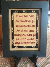Small Antique Vintage Framed Cross Stitch Sampler Friends Will Come Friends Go
