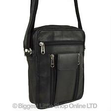 NEW Gents Black LEATHER Handy Cross Body Travel Bag MANBAG by PrimeHide Utility