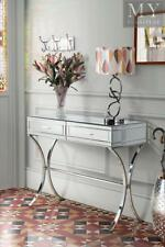 AURELIA Mirrored Console/Dressing Table Chrome Stand 2 Drawers