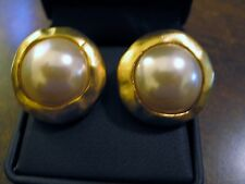 80's Signed Norma Jean Earrings Clips Matte Gold Plated Finish Faux Pearl 1 1/4""