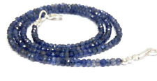 "3-4mm Blue Water Sapphire Iolite Stone Rondelle Faceted Bead Beaded 18"" Necklace"