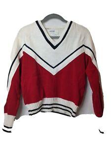 1980s Vintage Cheerleader Uniform Sweater V Neck Long Sleeve Red Creak Black