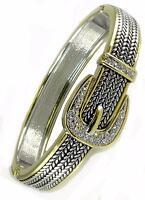 Designer Style Crystal Buckle Silver Gold Hinged Rope Bangle Bracelet