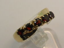 9ct Solid Yellow Gold & Red Garnet 5 Stone Ribbon Bow Dress Ring size P