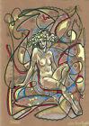 original painting A3 272MG art Surrealism Mixed Media illustration female nude