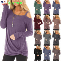 Women's Twist Cold Shoulder Tops Ladies Casual Solid Long Sleeve T Shirt Blouse