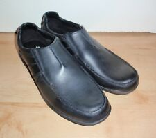 NEW Clarks mens BRADLEY FALL slip on black leather shoes UK 11 F 46 narrow fit