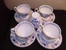 JOHNSON BROTHERS Blue Nordic (Blue Onion)  5 Cups and 10 Saucers Disc 1996