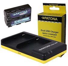 Comfort Patona Akku NP-FM500H + Dual  Ladegerät für Sony Alpha SLT-A65V, SLT-A65