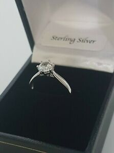 Sterling SILVER Round Cut SOLITAIRE Created Diamond ENGAGEMENT Ring 925