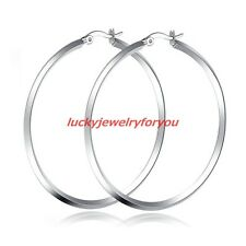 New Arrival Silver Tone Stainless Steel Lady Womens Big Rond Ring Hoop Earrings