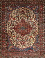 Antique Vegetable Dye Bakhtiari Oriental Hand-Knotted11x15 Floral Ivory Area Rug