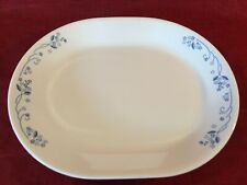 """CORELLE Provincial Blue daisies flowers floral discontinued oval platter 12x10"""""""