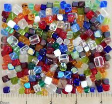1/4 LB Pound Lot Assorted Czech Glass Cube Square Dice Rectangle Pressed Beads