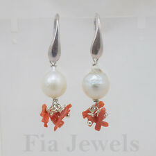 Orecchini Perle Corallo Naturale Argento EARRINGS natural pearls coral silver