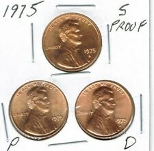 1975-D-P-S Three Uncirculated Cent Coins; San Francisco is from a Proof Set!