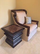MARGE CARSON WOOD FRAMED KENZIE CHAIR w/ NEUTRAL FABRIC & ACCENT PILLOW Rt $4.8K