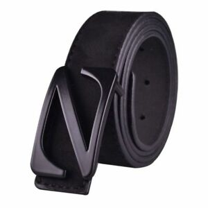 High Quality Faux Suede Leather Men Waist Belt Z Pin Buckle Close Solid Pattern