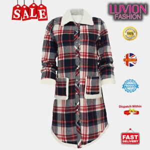 High-Quality Women's Winter Plaid Mid-Length Jacket Sherpa Lining-NAVY RED