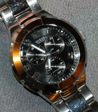 GUESS Waterpro 100M Men's Watch Chronograph Stainless Steel NEW BATTERY!