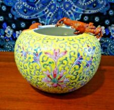 Antique Ceramic Chinese Yellow Floral Porcelain Vase with Dragon
