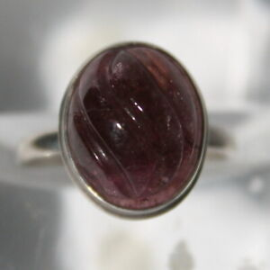 Siberian tourmaline carved silver ring