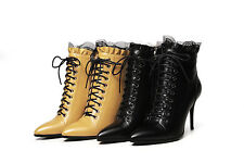 Ladies Pointed Shoes Genuine Leather High Heels Lace Up Ankle Boots US Size b131