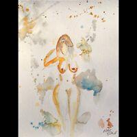 Matt Scalf Nude Woman Abstract ORIGINAL PAINTING Watercolor 9x12 Naked Figure