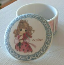 "Precious Moments ""October"" Porcelain Circular Trinket Box 723460"