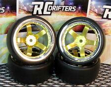 1:10 RC-Car Felge 4x SD 5 Speichen Chrom matt Gold mit Driftreifen DT2 6/9Off
