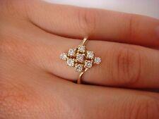 VINTAGE 14K YELLOW GOLD 0.50 CT DIAMOND RHOMBUS DESIGN LADIES RING, SIZE 6
