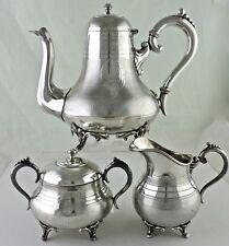 VINTAGE SILVER PLATED TEA/COFFEE SET POT CREAMER SUGAR GERMAN LEUCONIDE ART DECO