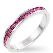 Silver Plated Eternity Ring Band Pink Cubic Zirconia Simulated Tourmaline Size 9