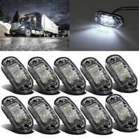 10pcs White 12V 24V 2 LED Side Front Marker Indicators Lights Lamp Truck Trailer