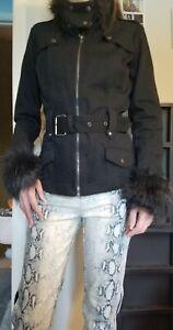 Tripp NYC Black Jacket Fur Cuffs Belted Waist Small Vintage Rare!!