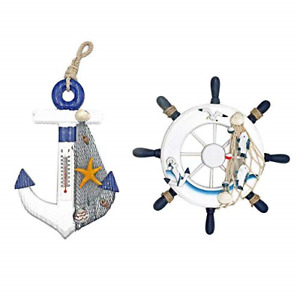Originalidad 2 Pack Nautical Beach Wooden Ship Wheel and Wood Anchor with Rope