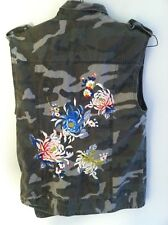 Silence + Noise womens size small camouflage vest sleeveless jacket floral and &