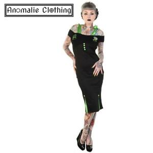 Banned Apparel Green and Black Frankenstein and Bride Pencil Dress Psychobilly