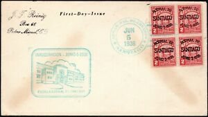 PANAMA 1938 1S 1ST-DAY COVER+ BLOCK-4 INAUGURATION-NORMAL SCHOOL OF SANTIAGO 2C