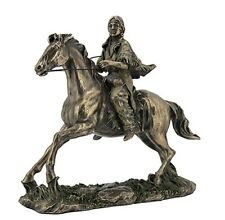 """11"""" Indian Woman on Trotting Horse Native American Statue Indian Decor India"""