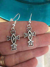 Cross with Fish Earrings Dangle Wire Hook Silver Alloy Church