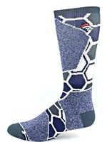 Denver Broncos Football Hexagon Crew Socks Heather Gray Navy White