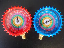 "YELLOW JACKET,Uniweld STYLE""Replacement Gauges RED&BLUE w/Covers 410a R22 R404a"